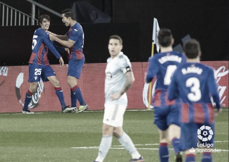 Hugo Mallo se lamenta del gol de Bryan Gil, quien lo celebra al fondo | Imagen: LaLiga