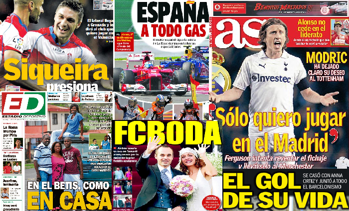 Las portadas del 9 de julio de 2012