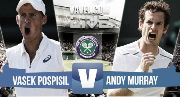 Risultato Pospisil - Murray 0-3, quarti di finale Wimbledon 2015 (4-6 5-7 4-6)