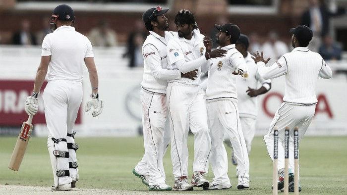 England - Sri Lanka - Day Three: Pradeep's late surge leaves game in the balance