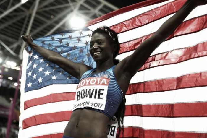 World Athletics Championships: Tori Bowie takes 100m gold in dramatic fashion