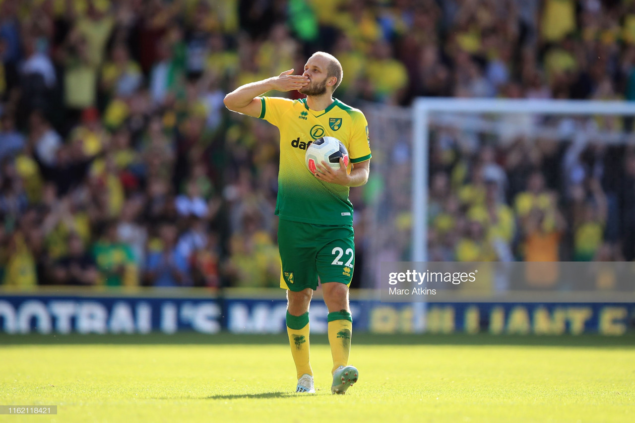 Teemu Pukki, celebrating after a goal last season, was the key man today vs Bristol City | Source: Marc Atkins / GettyImages