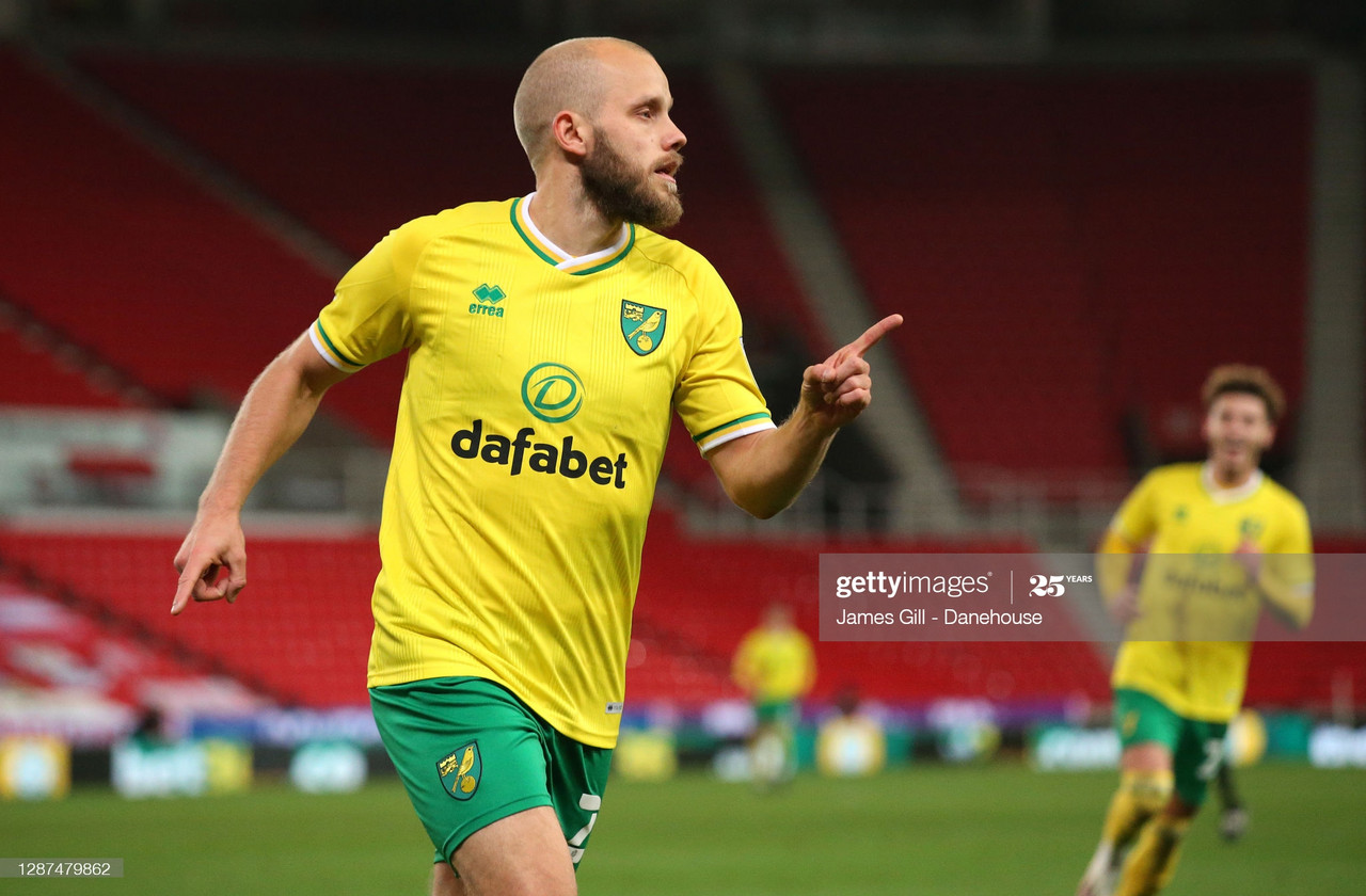 STOKE ON TRENT, ENGLAND - NOVEMBER 24: Teemu Pukki of Norwich City celebrates after scoring their second goal during the Sky Bet Championship match between Stoke City and Norwich City at Bet365 Stadium on November 24, 2020 in Stoke on Trent, England. Sporting stadiums around the UK remain under strict restrictions due to the Coronavirus Pandemic as Government social distancing laws prohibit fans inside venues resulting in games being played behind closed doors. (Photo by James Gill - Danehouse/Getty Images)<br>