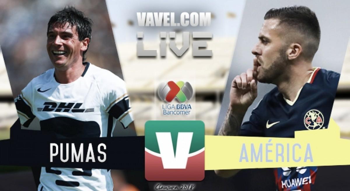 Pumas vs América en vivo y en directo online en Liga MX 2018 (1-4)