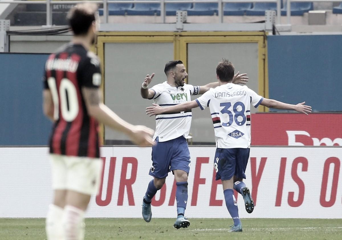 Milan marca no fim, mas tropeça na Sampdoria e continua longe da liderança