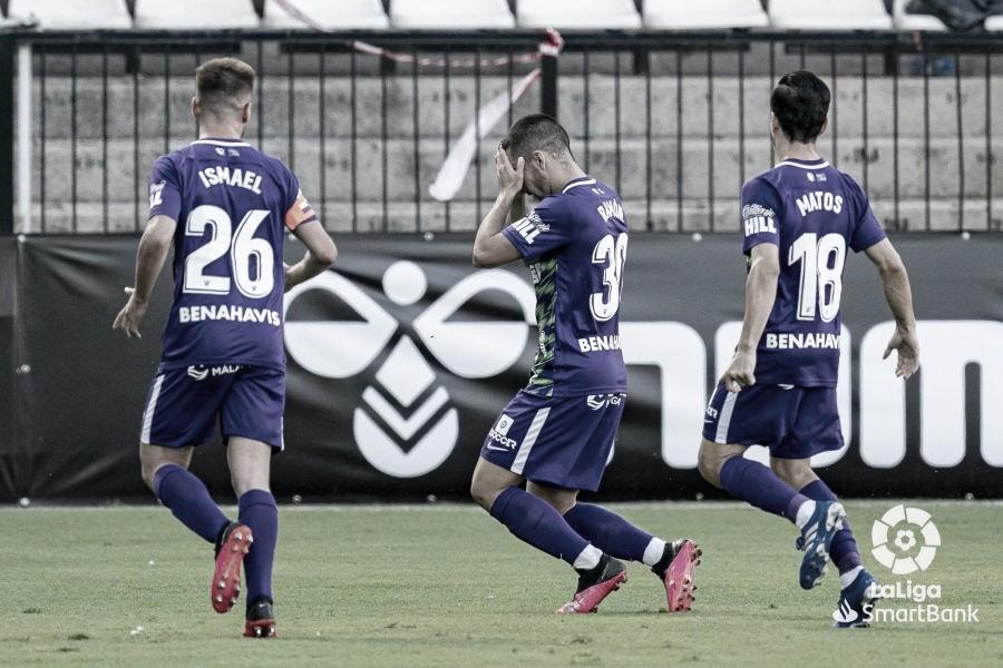 Ramón, tras el asombroso gol durante el encuentro CD Castellón- Málaga CF. / Foto: LaLiga