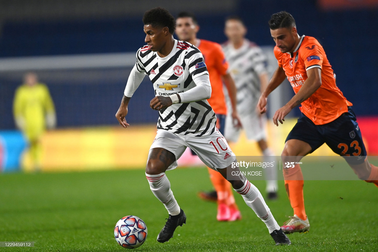 Manchester United's English forward Marcus Rashford runs with the ball during the UEFA Champions League football match group H, between Istanbul Basaksehir FK and Manchester United, on November 4, 2020, at the Basaksehir Fatih Terim stadium in Istanbul. (Photo by OZAN KOSE / AFP) (Photo by OZAN KOSE/AFP via Getty Images)