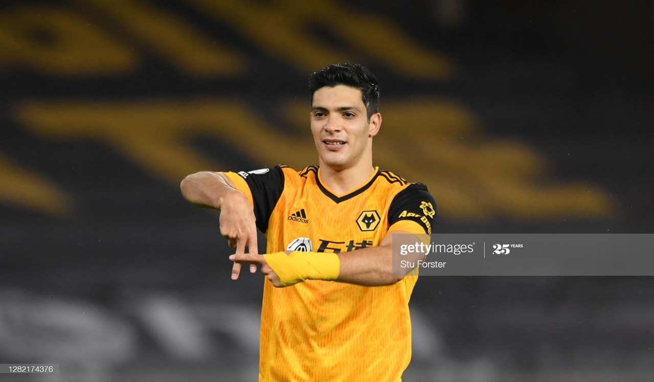 Raul Jimenez celebrates after scoring against Newcastle United on 25th October 2020 (Photo by Stu Forster/Getty Images).