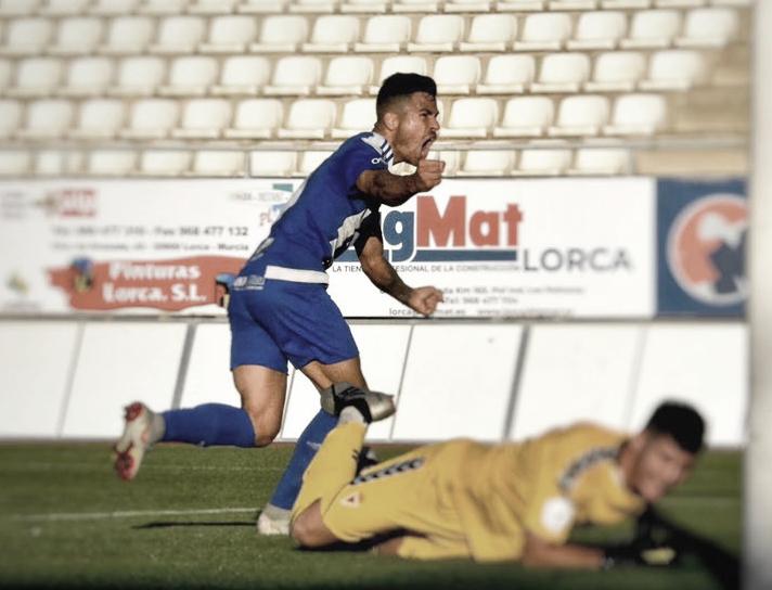 Samu Martínez celebrando uno de sus goles con el Lorca Deportiva | Foto: Lorca Deportiva