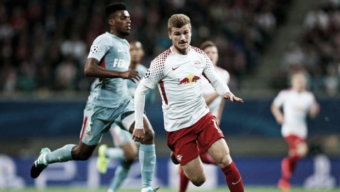 Estreante Leipzig sai na frente, mas cede empate para Monaco em casa
