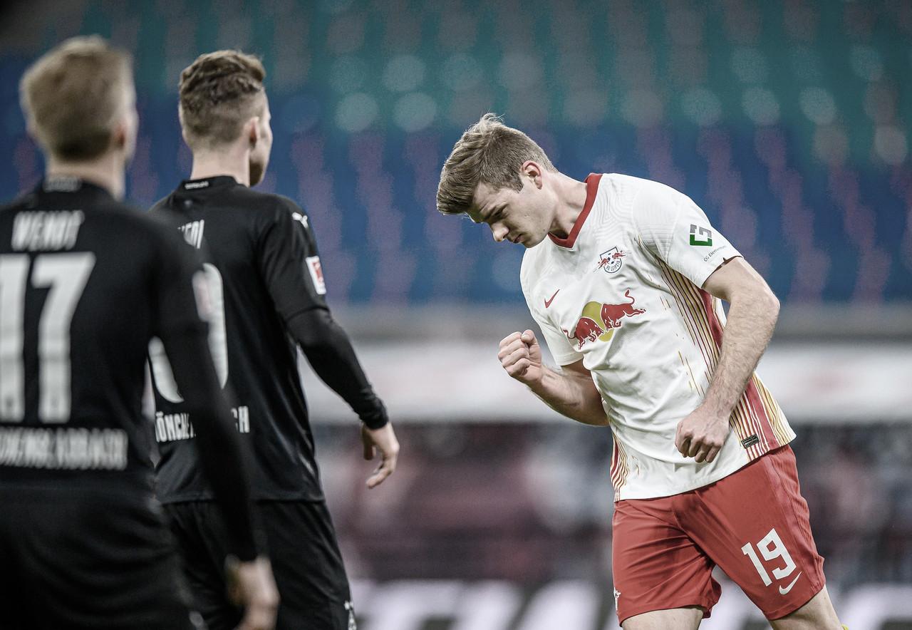 RB Leipzig vira nos acréscimos contra o M'gladbach e segue perto do líder Bayern