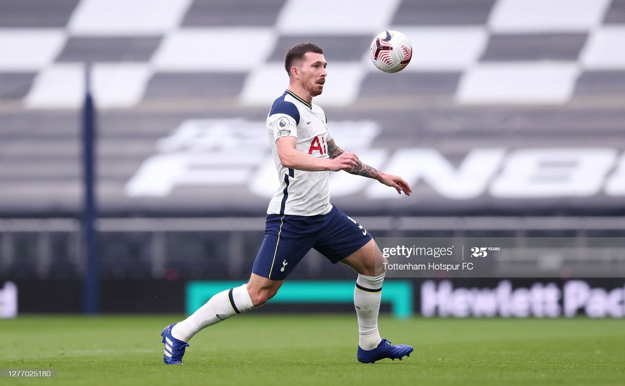 LONDON, ENGLAND - SEPTEMBER 27: Pierre-Emile Hojbjerg of Tottenham Hotspur during the Premier League match between Tottenham Hotspur and Newcastle United at Tottenham Hotspur Stadium on September 27, 2020 in London, England. Sporting stadiums around the UK remain under strict restrictions due to the Coronavirus Pandemic as Government social distancing laws prohibit fans inside venues resulting in games being played behind closed doors. (Photo by Tottenham Hotspur FC/Tottenham Hotspur FC via Getty Images)