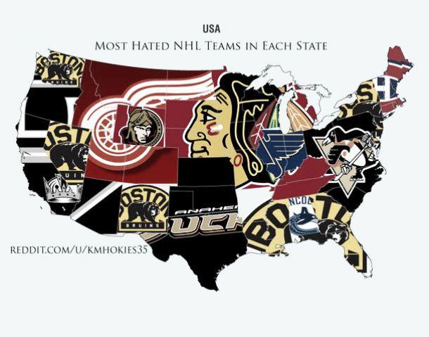 Los equipos NHL más odiados estado por estado