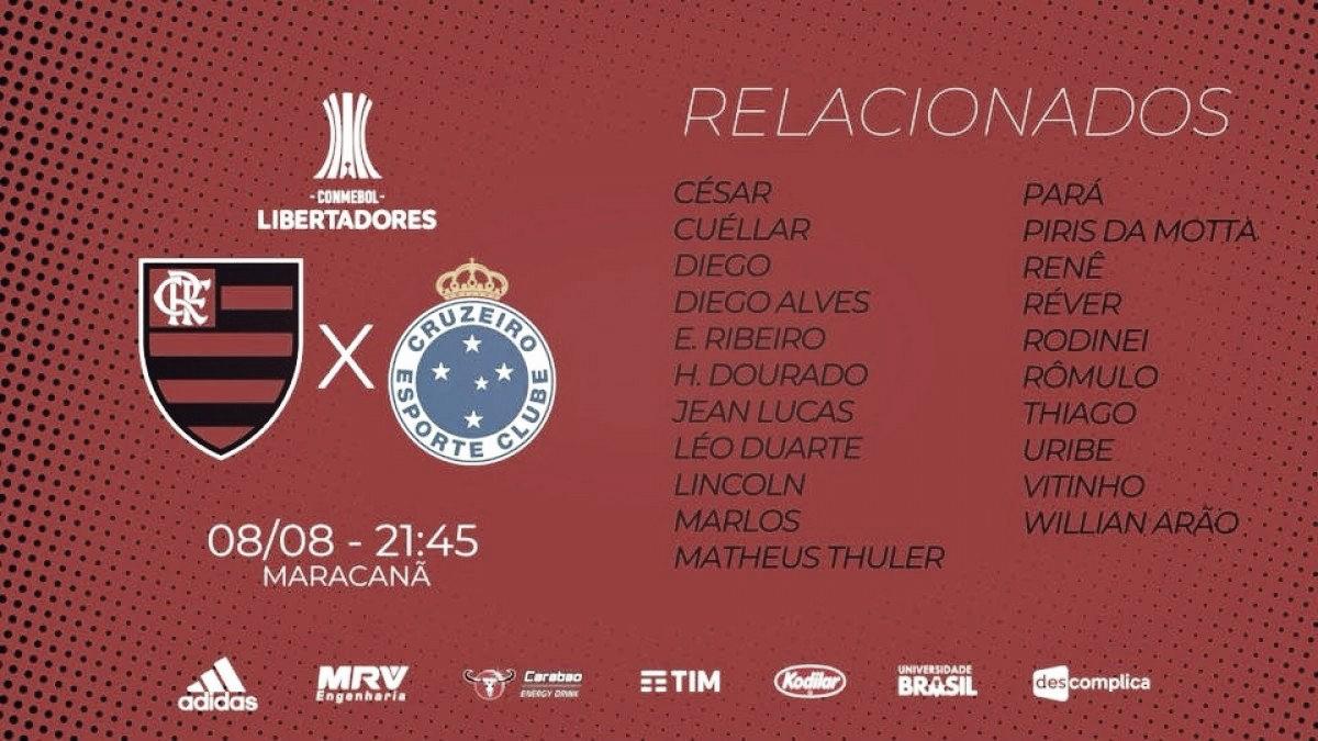Flamengo divulga relacionados para partida contra Cruzeiro sem Guerrero e Juan