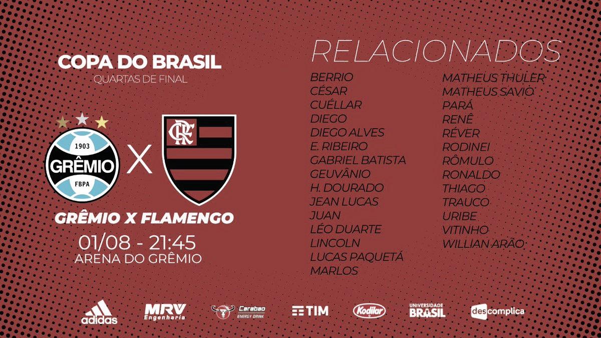 Com Berrío e Vitinho, Flamengo divulga lista de relacionados para confronto diante do Grêmio