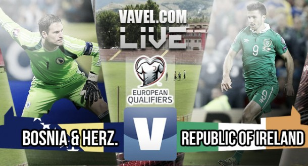 Score Bosnia-Herzegovina vsRepublic of Irelandin European Championship play-off first leg 2015 (1-1)