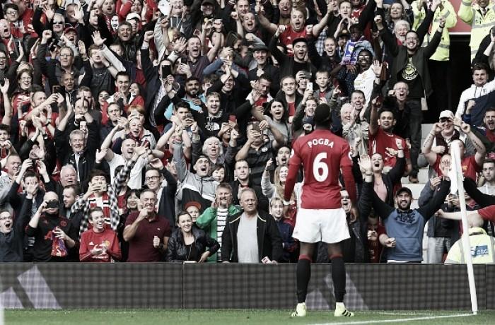 Pogba marca primeiro gol e Manchester United volta a vencer ao golear Leicester