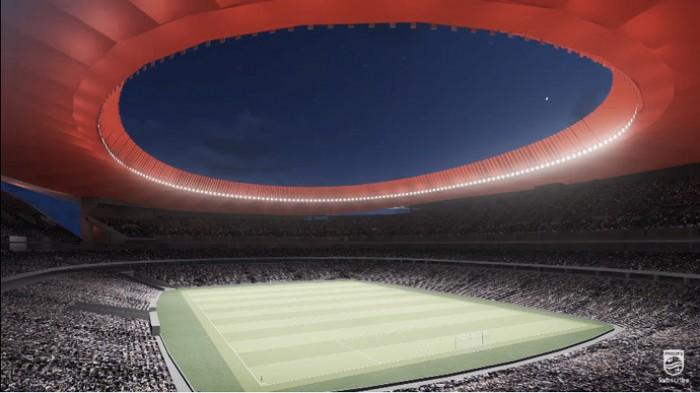 Atlético de Madrid apresenta inovadora tecnologia de iluminação para seu novo estádio