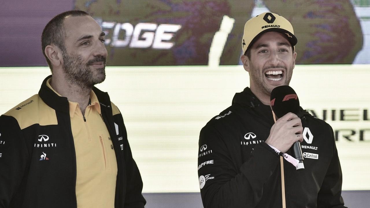 Cyril Abiteboul e Daniel Ricciardo (Renault F1 Team/Divulgação)