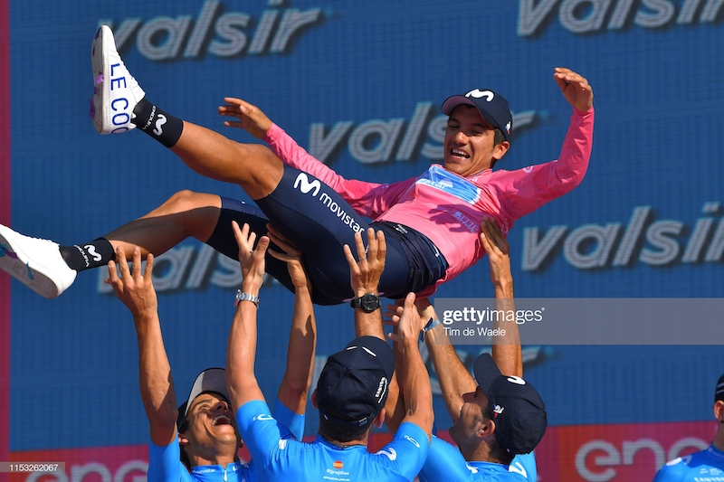 VERONA, ITALY - JUNE 02: Podium / Richard Carapaz of Ecuador and Movistar Team Pink Leader Jersey / Celebration / during the 102nd Giro d'Italia 2019, Stage 21 a 17km Individual Time Trial stage from Verona - Fiera to Verona - Arena / ITT / Amphitheater / Arena di Verona / Tour of Italy / #Giro / @giroditalia / on June 02, 2019 in Verona, Italy. (Photo by Tim de Waele/Getty Images)