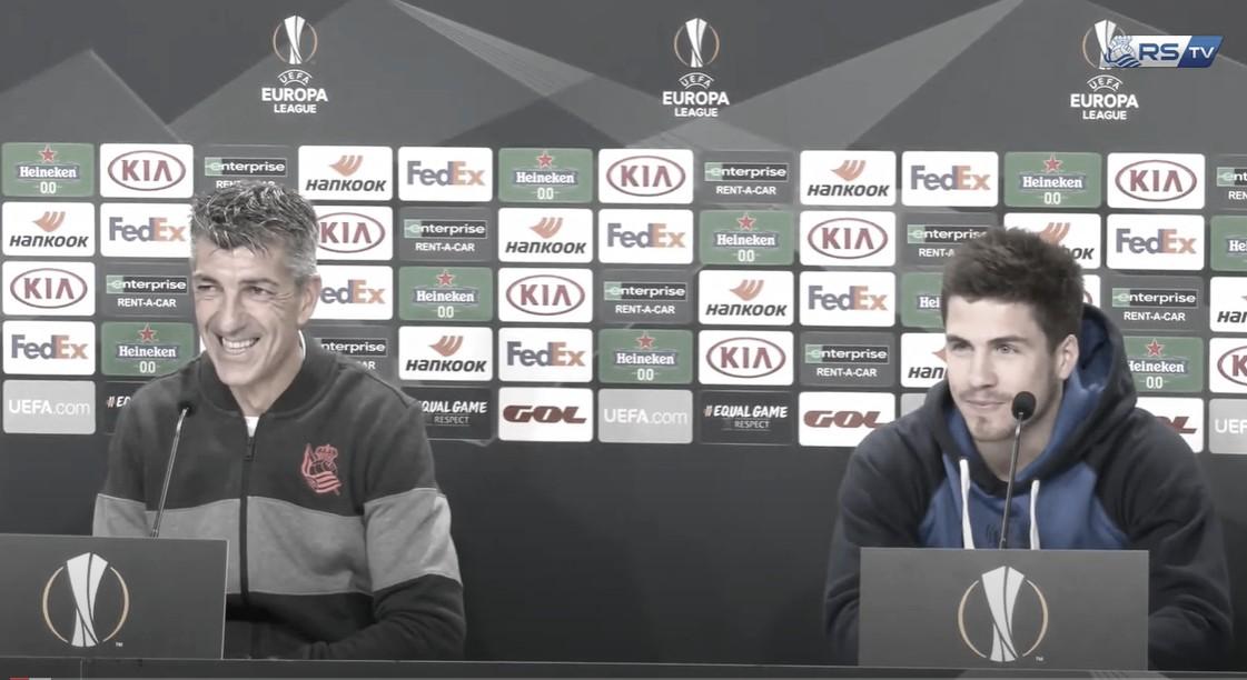 Rueda de prensa previa al partido ante el Rijeka con Imanol Alguacil e Igor Zubeldia / FOTO: Real Sociedad