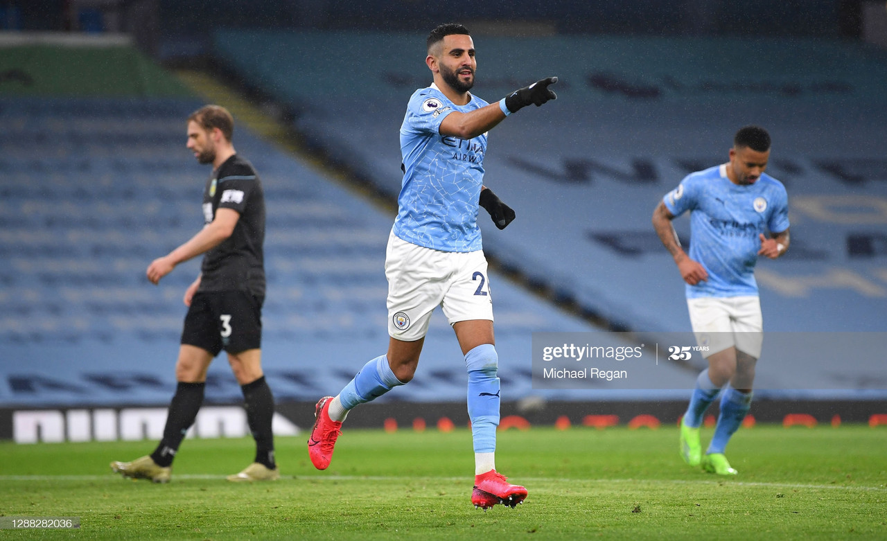 <div>MANCHESTER, ENGLAND - NOVEMBER 28: Riyad Mahrez of Manchester City celebrates after scoring his team's fifth goal during the Premier League match between Manchester City and Burnley at Etihad Stadium on November 28, 2020 in Manchester, England. Sporting stadiums around the UK remain under strict restrictions due to the Coronavirus Pandemic as Government social distancing laws prohibit fans inside venues resulting in games being played behind closed doors. (Photo by Michael Regan/Getty Images)</div><div><br></div>