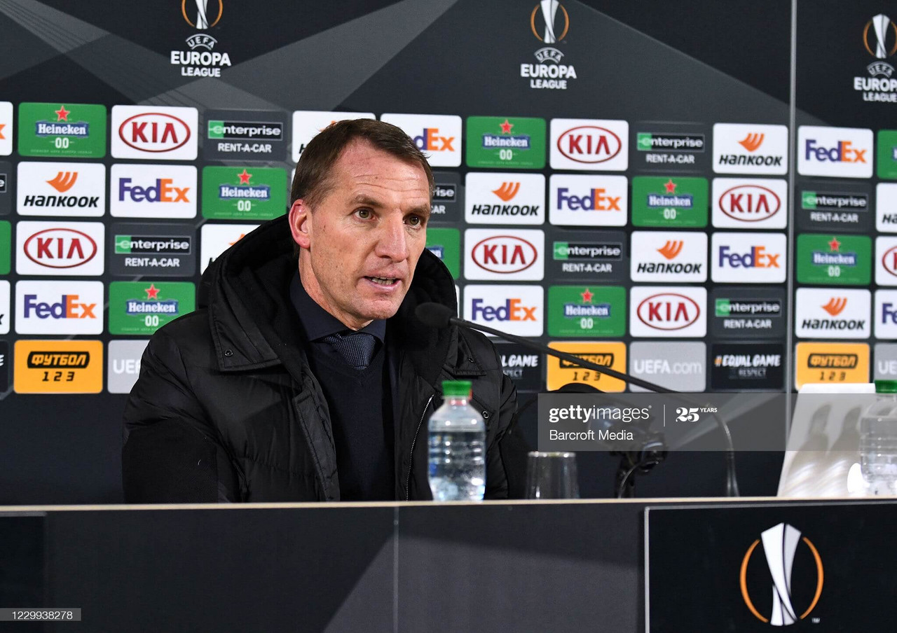ZAPORIZHZHIA, UKRAINE - DECEMBER 03, 2020 - Head coach of FC Leicester City Brendan Rodgers speaks with the journalists during the press conference after the UEFA Europa League group stage matchday 5 game against FC Zorya Luhansk which ended with a defeat of his team 1:0, Zaporizhzhia, southeastern Ukraine.- PHOTOGRAPH BY Ukrinform / Barcroft Studios / Future Publishing (Photo credit should read Dmytro Smoliyenko/ Ukrinform/Barcroft Media via Getty Images)