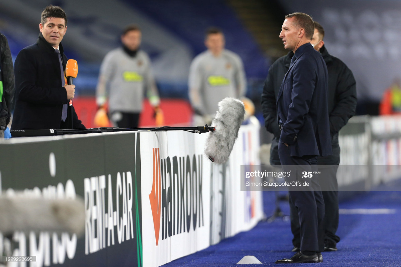 Leicester manager Brendan Rodgers is interviewed from a distance during the UEFA Europa League Group G match between Leicester City and Zorya Luhansk at The King Power Stadium. (Simon Stacpoole/Getty)