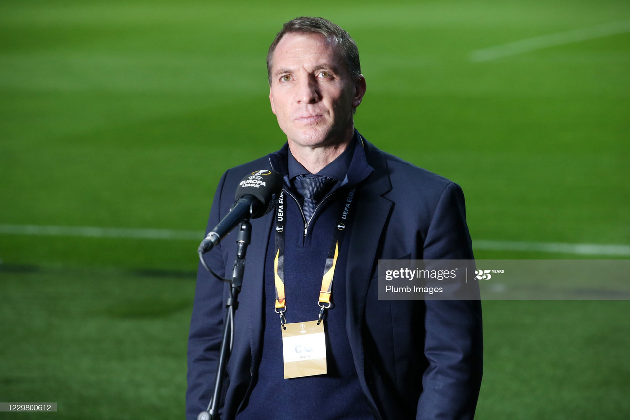 Leicester City Manager Brendan Rodgers talks to the media ahead of the UEFA Europa League Group G stage match between SC Braga and Leicester City at Estadio Municipal de Braga on November 26, 2020, in Braga, Portugal. (Photo by Plumb Images/Leicester City FC via Getty Images)