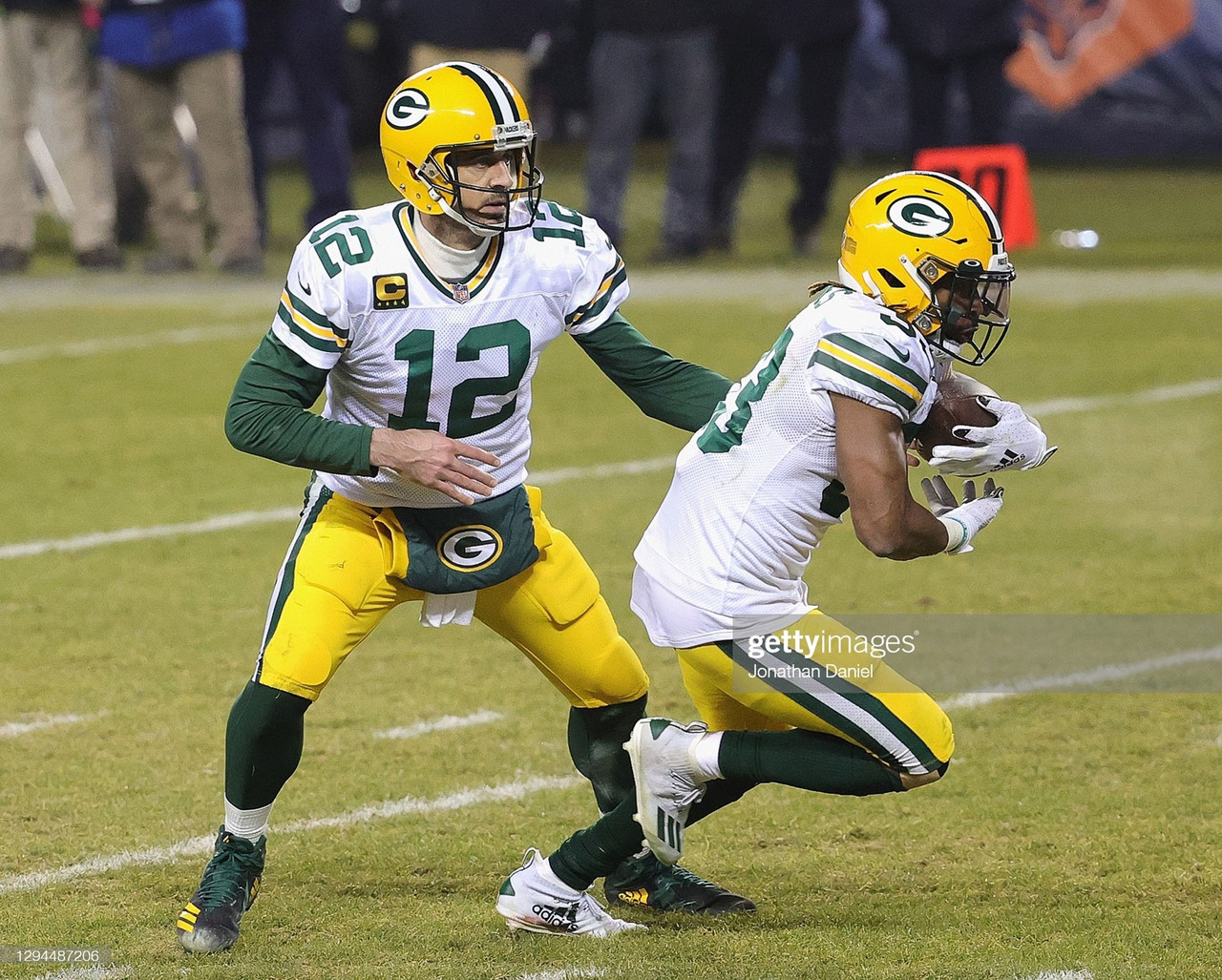 Aaron Rodgers and Aaron Jones gear up for another shot at the Super Bowl.(Photo by Jonathan Daniel/Getty Images)