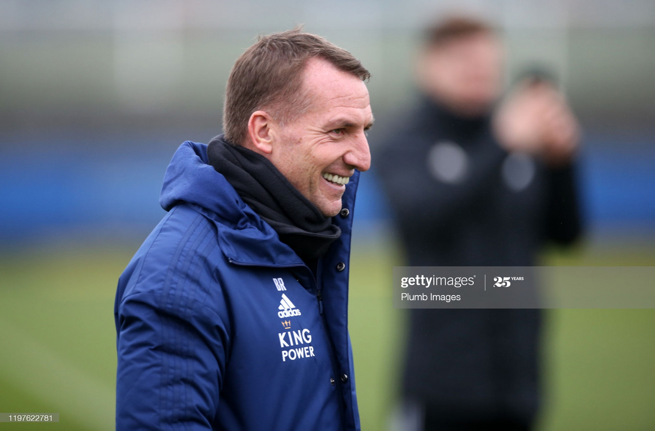 Leicester City Manager Brendan Rodgers during the Leicester City training session at Belvoir Drive Training Complex in Leicester, United Kingdom. (Photo by Plumb Images/Leicester City FC via Getty Images)