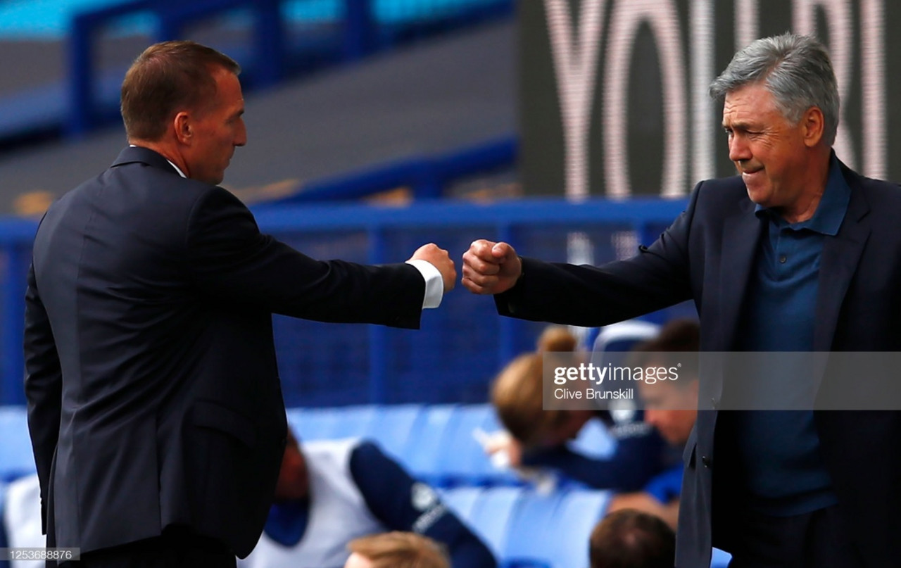 Carlo Ancelotti greets Brendan Rodgers before a Premier League game at Goodison Park | Photo: Getty/ Clive Brunskill