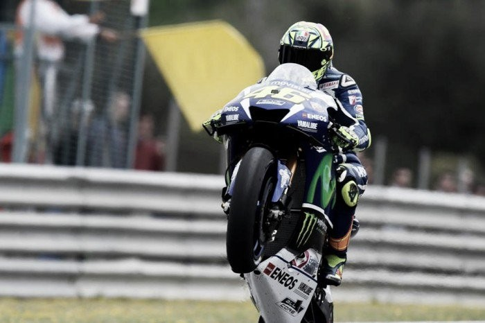 Valentino Rossi celebrates MotoGP win in Jerez