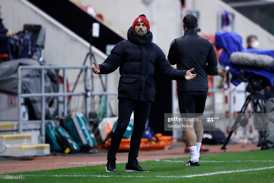 Rotherham United's Paul Warne looks on bemused during his side's defeat to Brentford. Photo: George Wood/Getty Images.