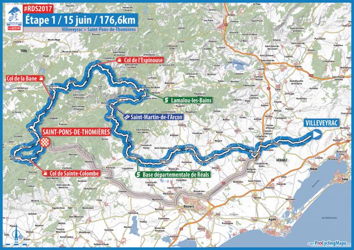 Route du Sud 2017, la prima tappa: Villeveyrac – Saint-Pons-de-Thomières, percorso mosso