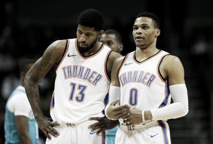 """Sem futuro definido, Paul George sinaliza permanecer no Thunder e elogia Westbrook: """"Ele é a razão"""""""