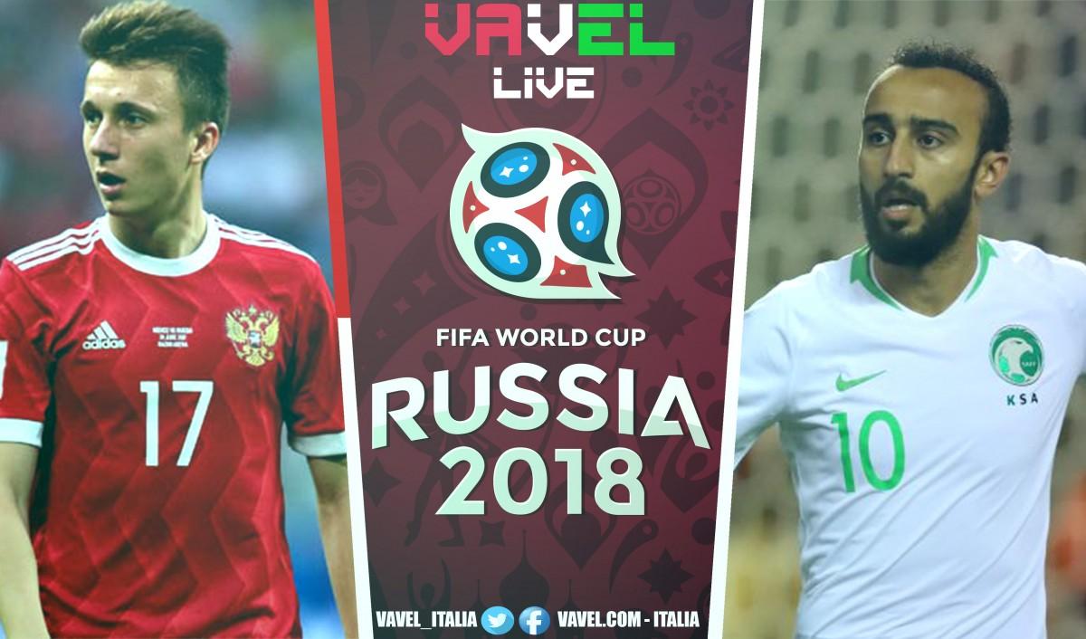 Terminata Russia-Arabia Saudita, Mondiale Russia 2018 LIVE (5-0): Festa russa, umiliati gli arabi