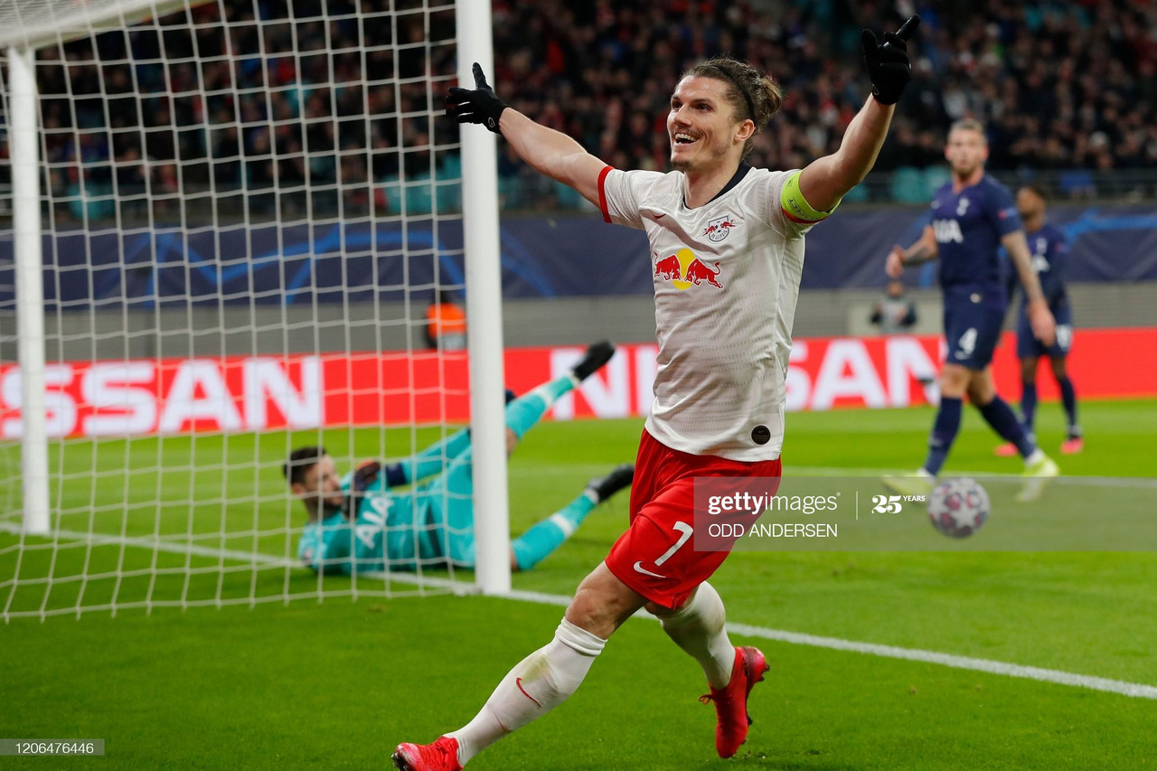 eipzig's Austrian midfielder Marcel Sabitzer celebrates scoring the 2-0 during the UEFA Champions League football match between RB Leipzig and Tottenham Hotspur, in Leipzig, eastern Germany on March 10, 2020. (Photo by Odd ANDERSEN / AFP) (Photo by ODD ANDERSEN/AFP via Getty Images)
