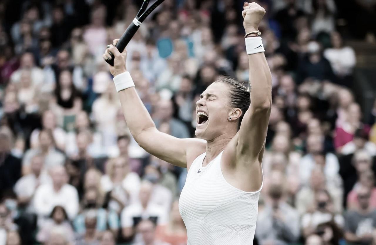 Sabalenka domina Jabeur em Wimbledon e vai à primeira semifinal em Slams