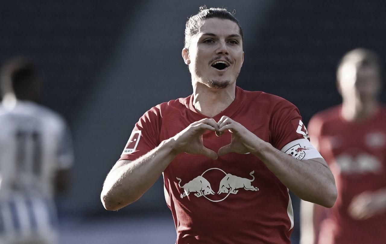 RB Leipzig vence Hertha Berlin e se aproxima da liderança na Bundesliga