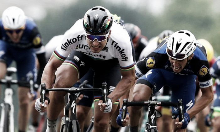 Peter Sagan takes victory and the Maillot Jaune in Cherbourg after an absorbing last 10km