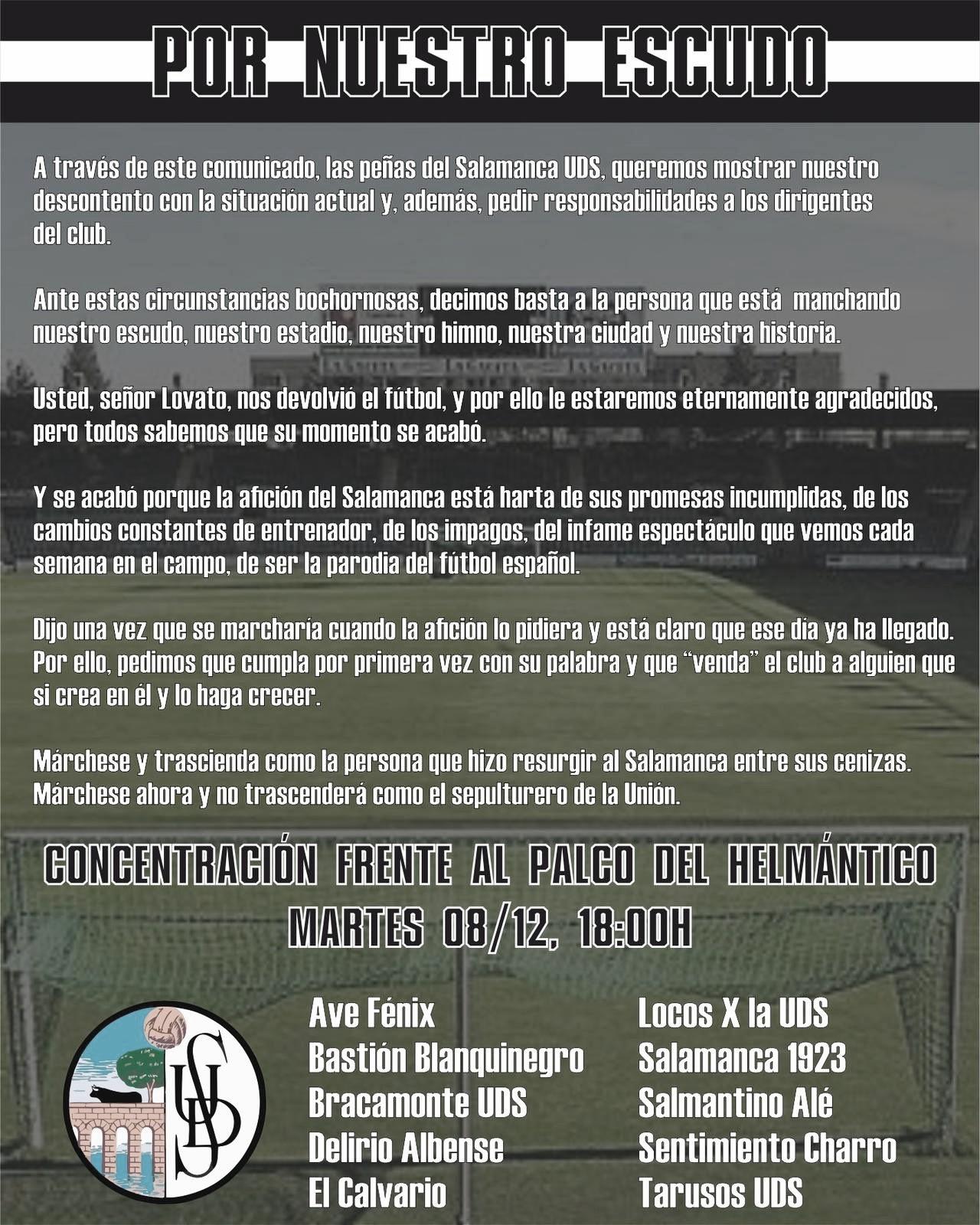 Varias peñas del Salamanca CF convocan una manifestación: #LovatoVeteYa