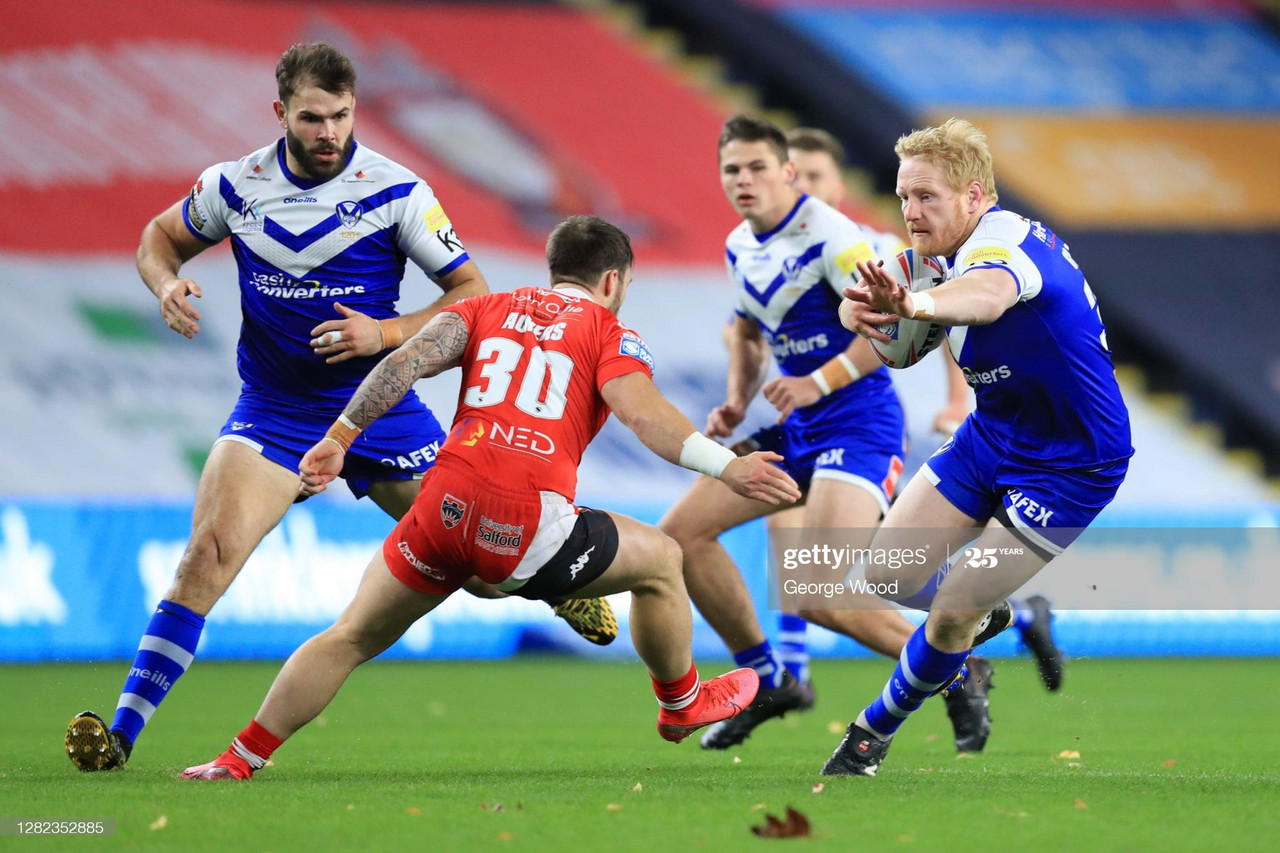 <div>LEEDS, ENGLAND - OCTOBER 26: James Graham of St Helens is challenged by Andy Ackers of Salford Red Devils during the Betfred Super League match between Salford Red Devils and St Helens at Emerald Headingley Stadium on October 26, 2020 in Leeds, England.Sporting stadiums around the UK remain under strict restrictions due to the Coronavirus Pandemic as Government social distancing laws prohibit fans inside venues resulting in games being played behind closed doors. (Photo by George Wood/Getty Images)</div><div><br></div>
