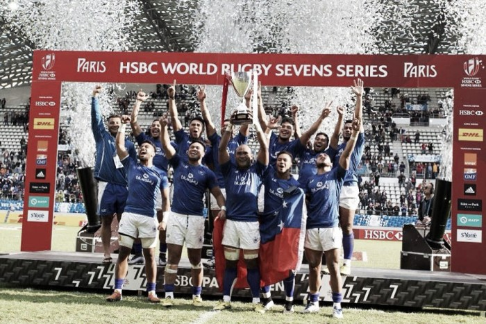 Samoa claim Paris Sevens title after astonishing comeback victory over Series leading Fijians