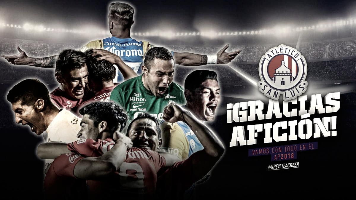 Los jugadores del Atlético de San Luis, a la espera de su futuro