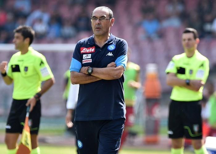 """Napoli, Sarri: """"Non penso al mio futuro. Juventus favorita per lo Scudetto"""""""