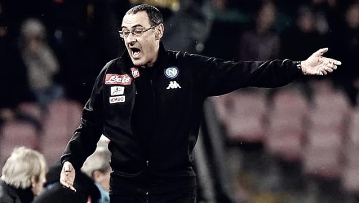 """Napoli, Sarri orgoglioso dei suoi: """"Li abbiamo messi ancora in difficoltà. Insigne? Spero diventi bandiera"""""""