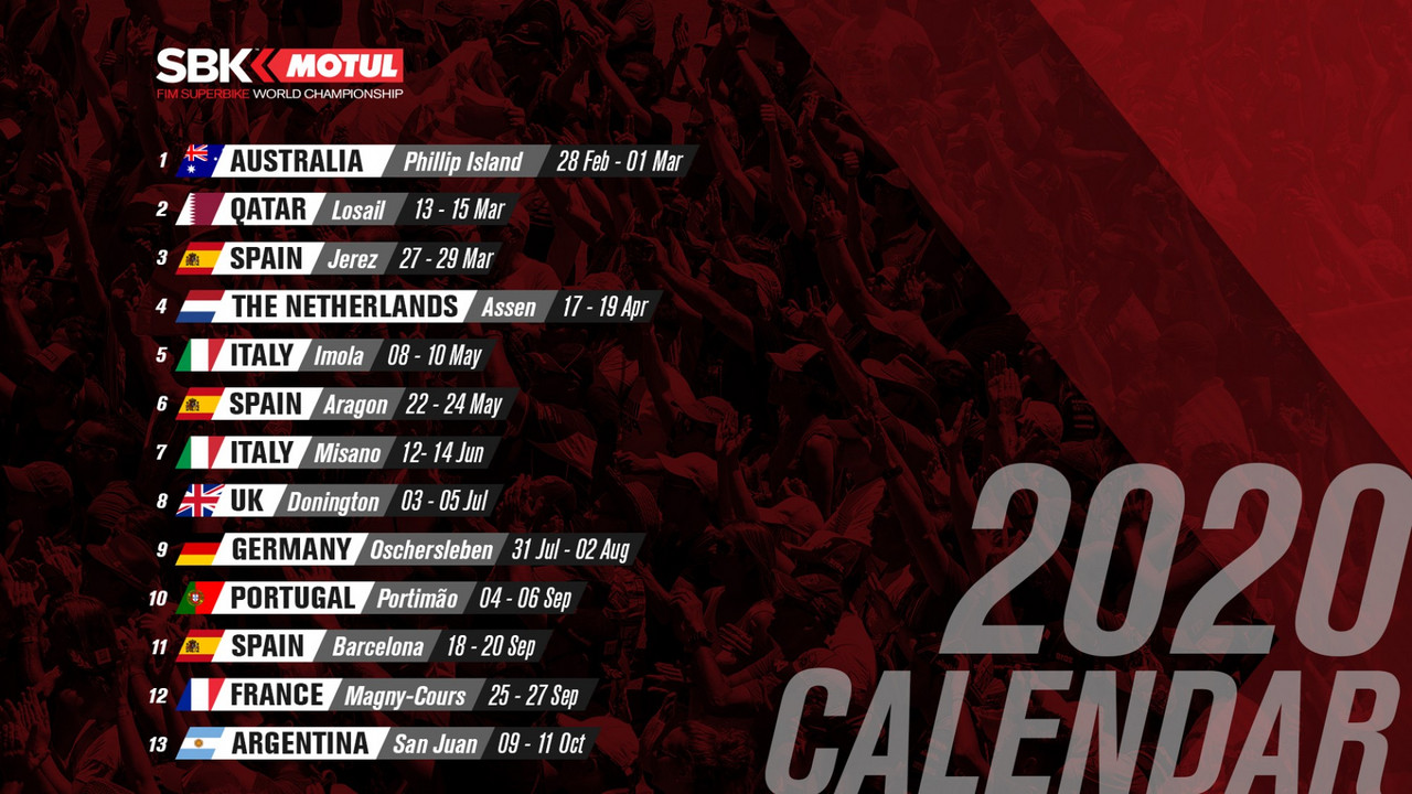 Calendario oficial WorldSBK
