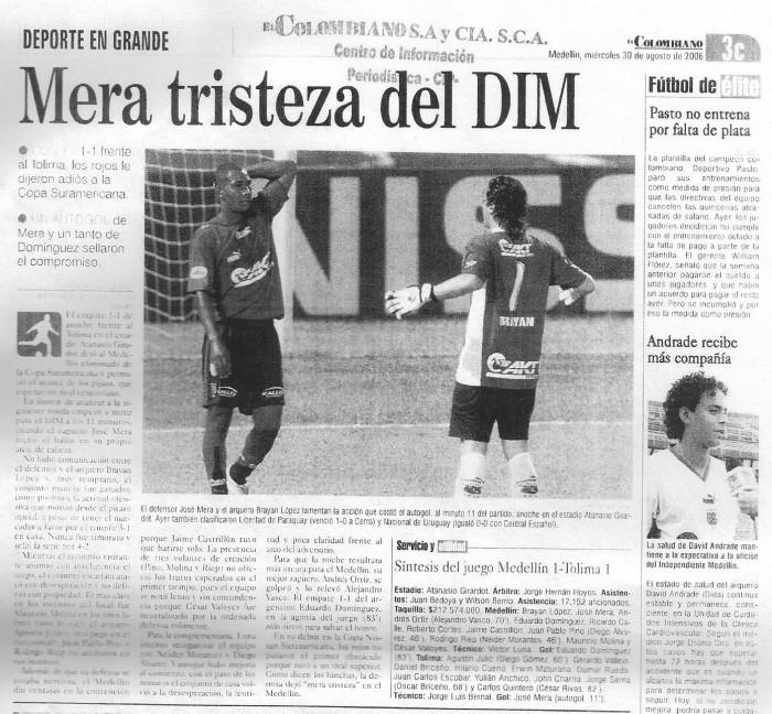 Medellín y su deuda continental: Crónica DIM 1(2) - 1(4) Tolima