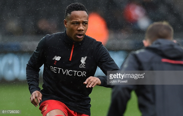 Liverpool defender Nathaniel Clyne joins Lallana and Lovren on the sidelines with knee injury